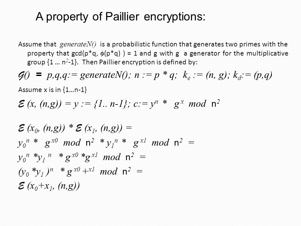 A property of Paillier encryptions: