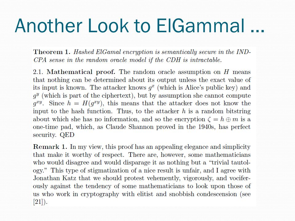Another Look to ElGammal …
