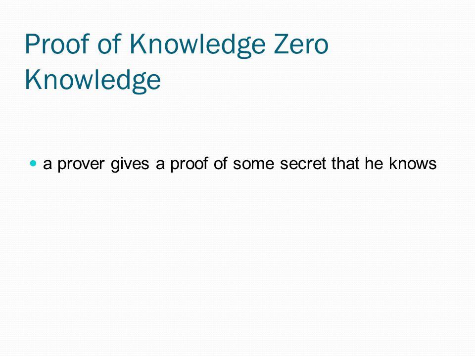 Proof of Knowledge Zero Knowledge