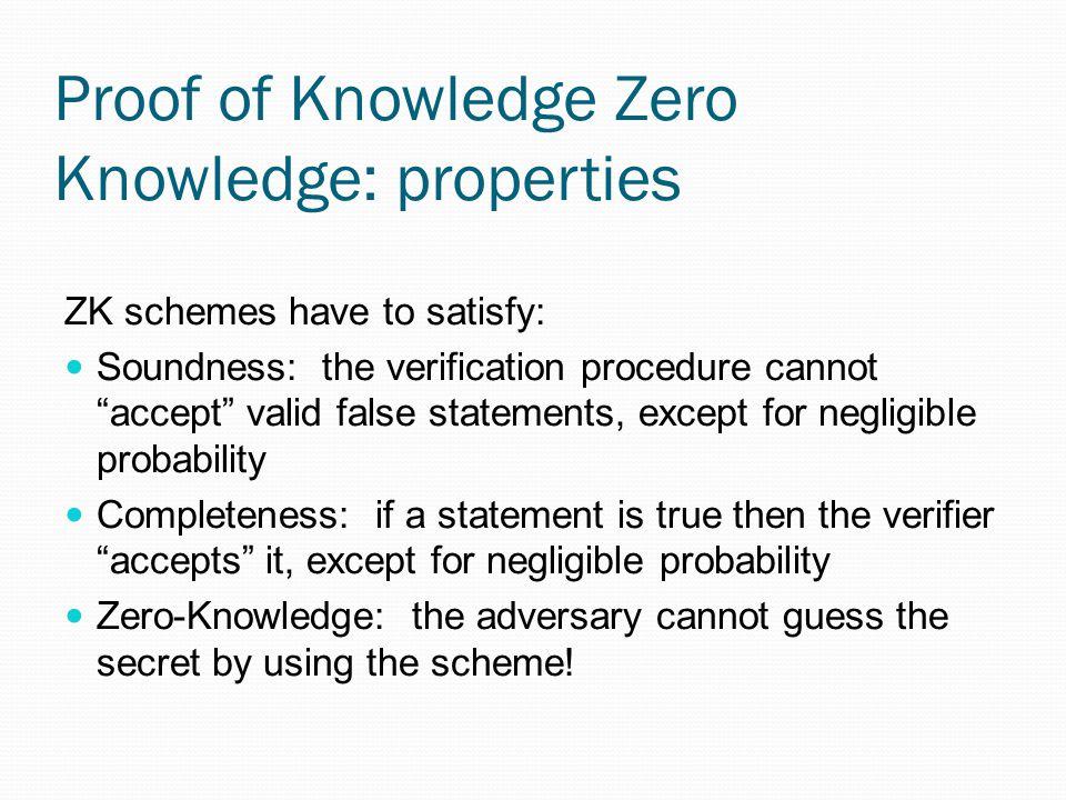 Proof of Knowledge Zero Knowledge: properties