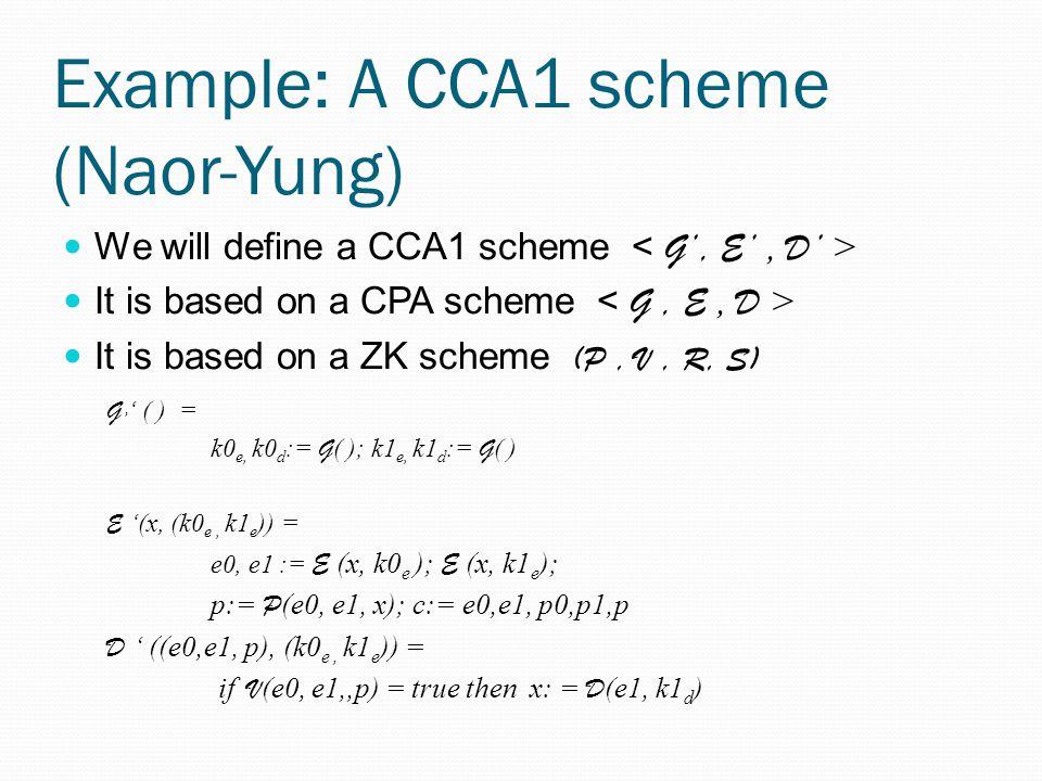 Example: A CCA1 scheme (Naor-Yung)