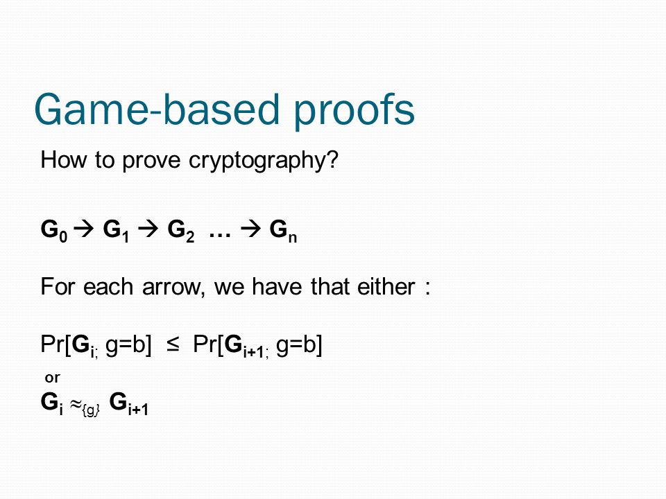 Game-based proofs How to prove cryptography.