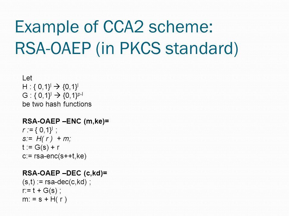 Example of CCA2 scheme: RSA-OAEP (in PKCS standard)
