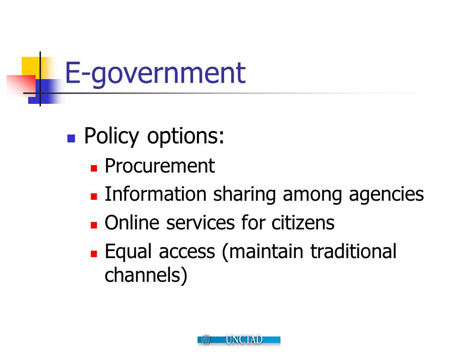 E-government Policy options: Procurement