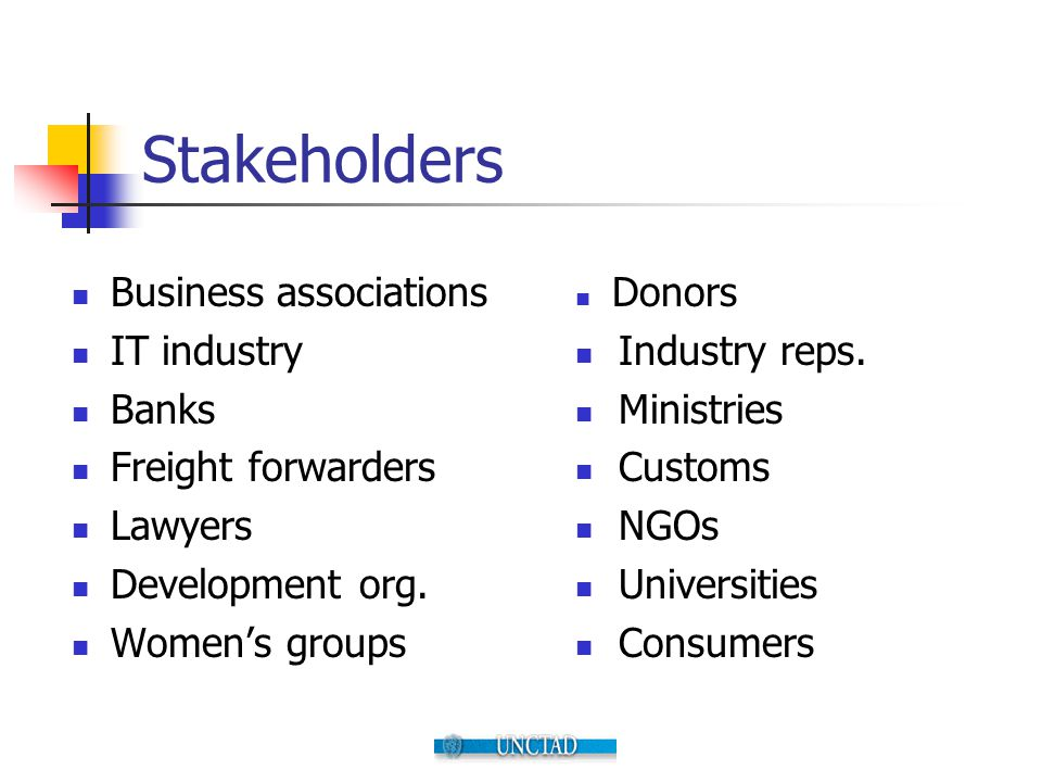 Stakeholders Business associations IT industry Banks