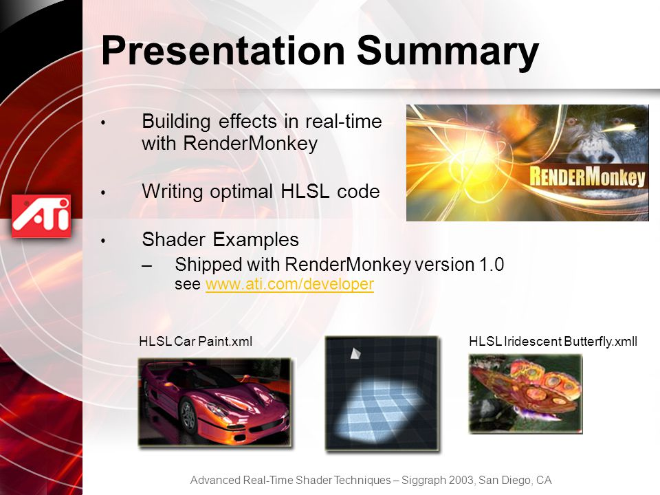 Presentation Summary Building effects in real-time with RenderMonkey