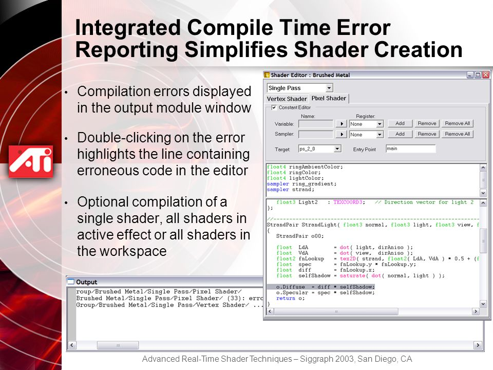 Integrated Compile Time Error Reporting Simplifies Shader Creation