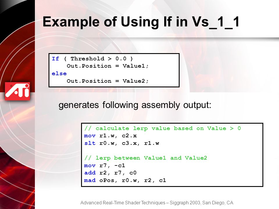 Example of Using If in Vs_1_1