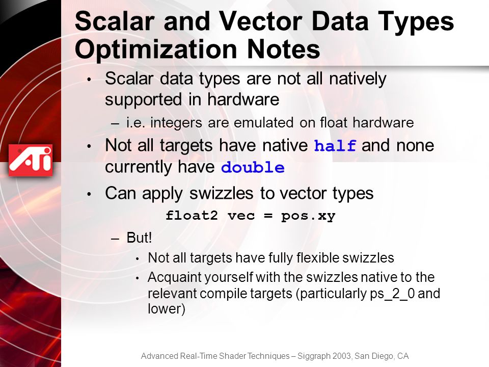 Scalar and Vector Data Types Optimization Notes