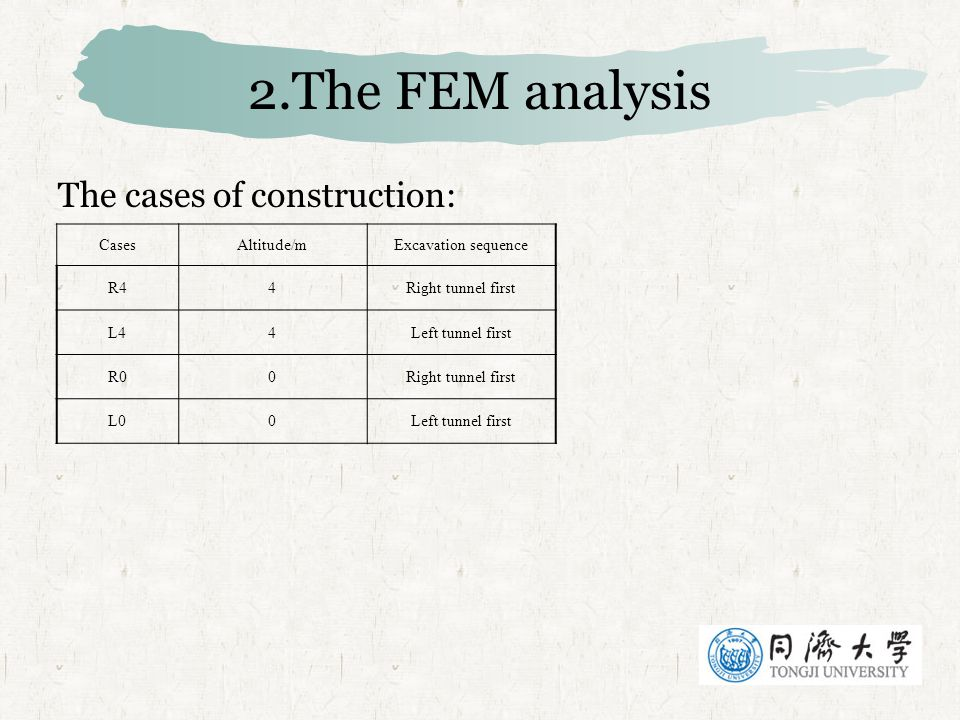 2.The FEM analysis The cases of construction: Cases Altitude/m