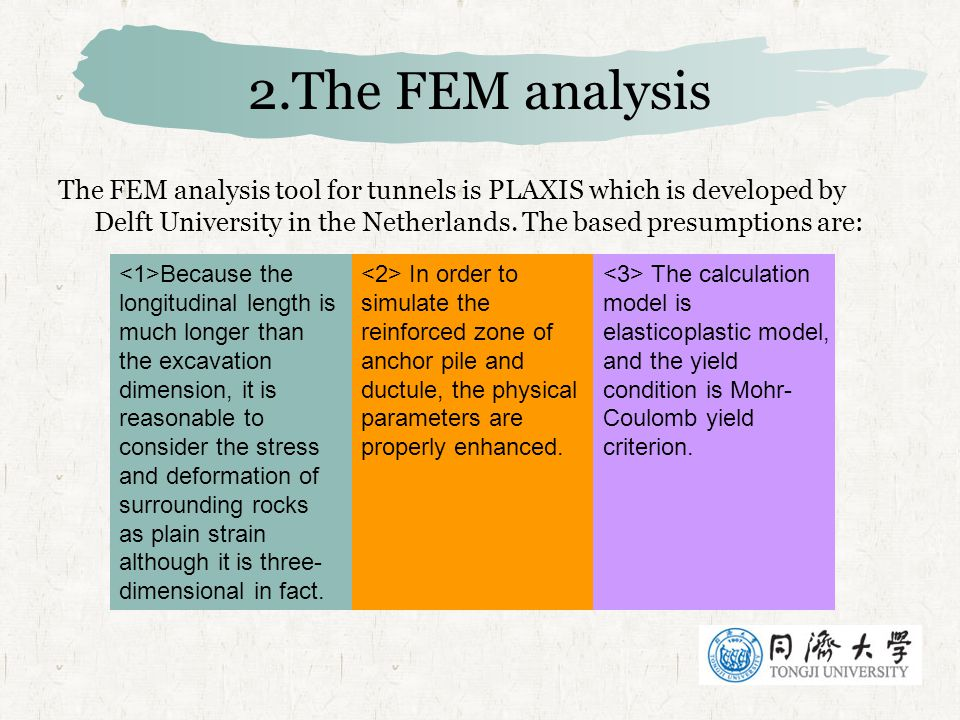 2.The FEM analysis The FEM analysis tool for tunnels is PLAXIS which is developed by Delft University in the Netherlands. The based presumptions are: