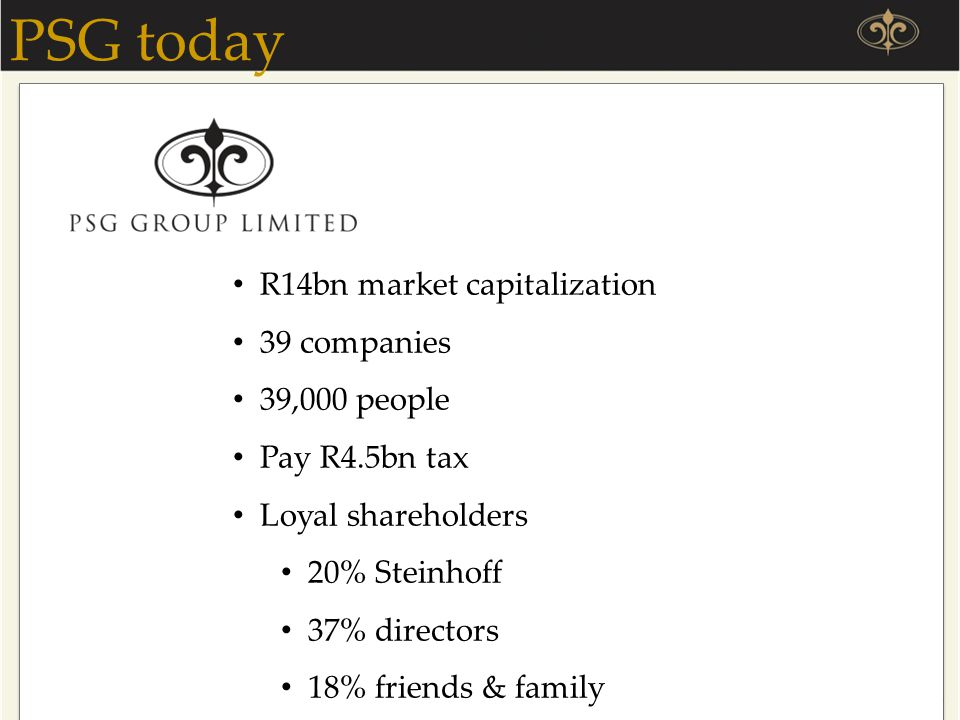 PSG today R14bn market capitalization 39 companies 39,000 people