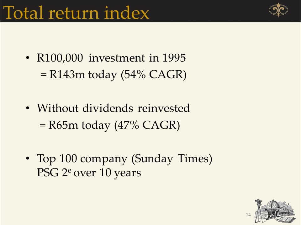 Total return index R100,000 investment in 1995