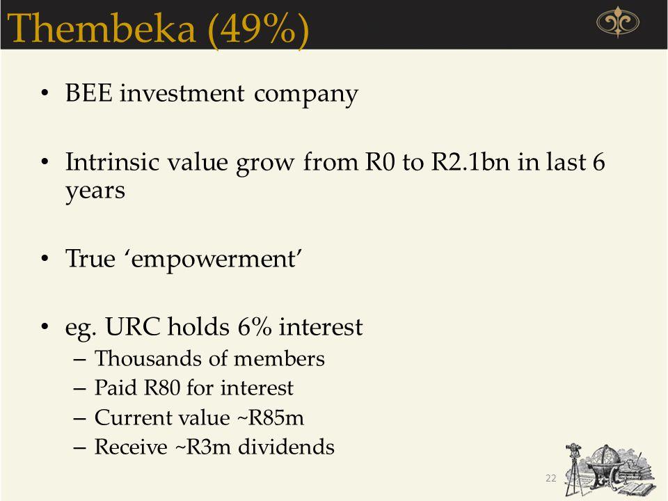 Thembeka (49%) BEE investment company