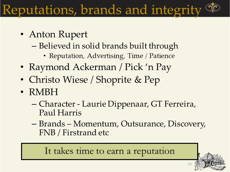 Reputations, brands and integrity