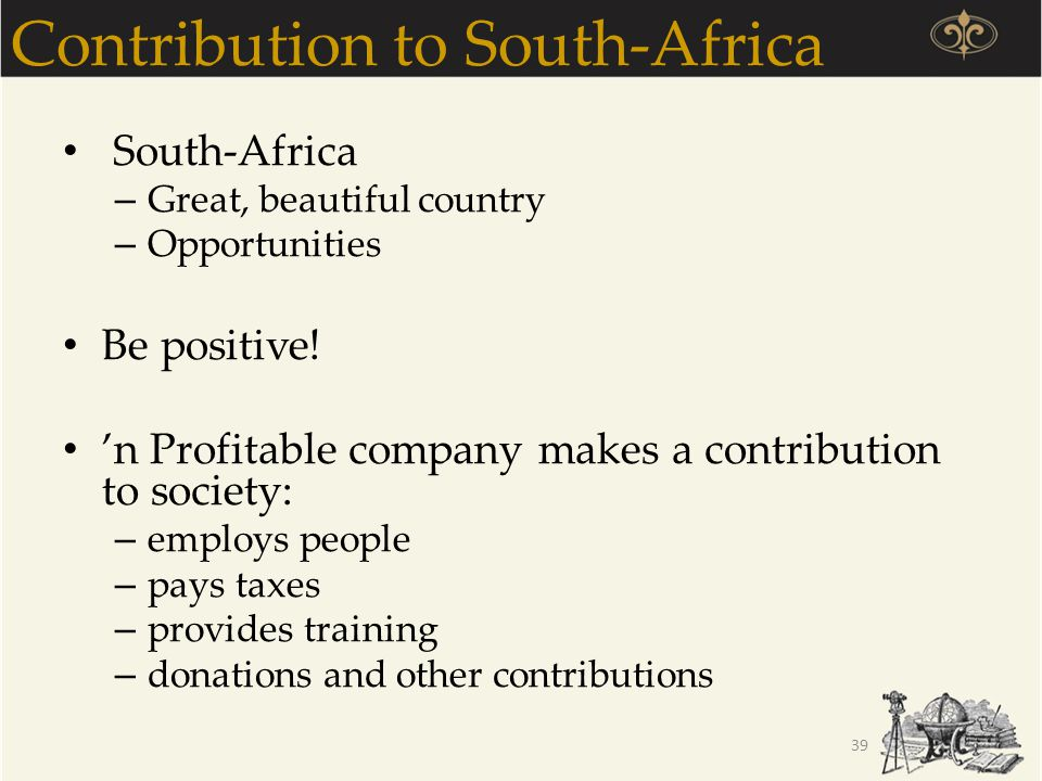 Contribution to South-Africa
