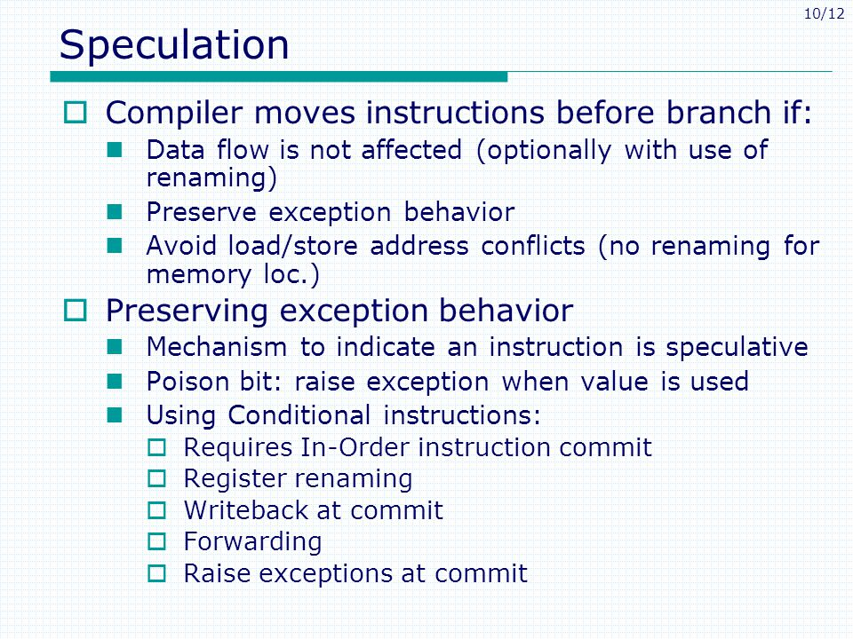 Speculation Compiler moves instructions before branch if: