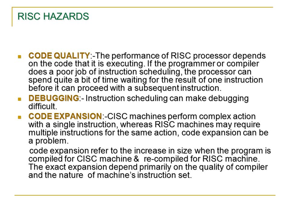 RISC HAZARDS