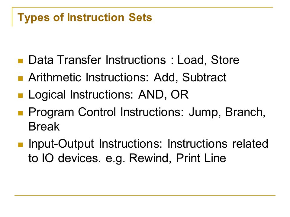 Types of Instruction Sets