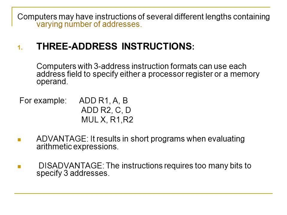 THREE-ADDRESS INSTRUCTIONS: