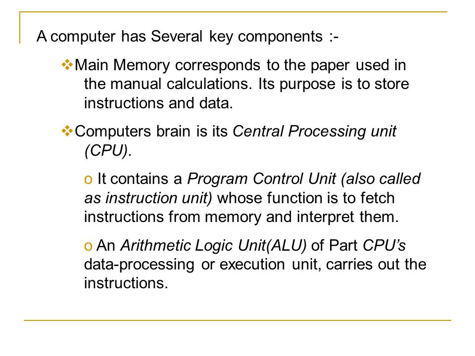 A computer has Several key components :-