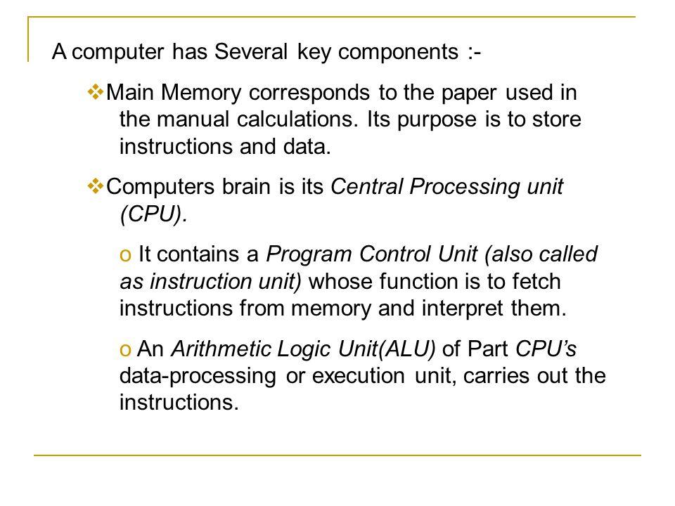 A computer has Several key components :-