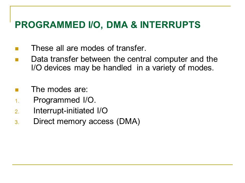 PROGRAMMED I/O, DMA & INTERRUPTS