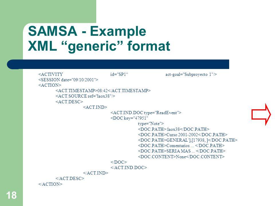 SAMSA - Example XML generic format