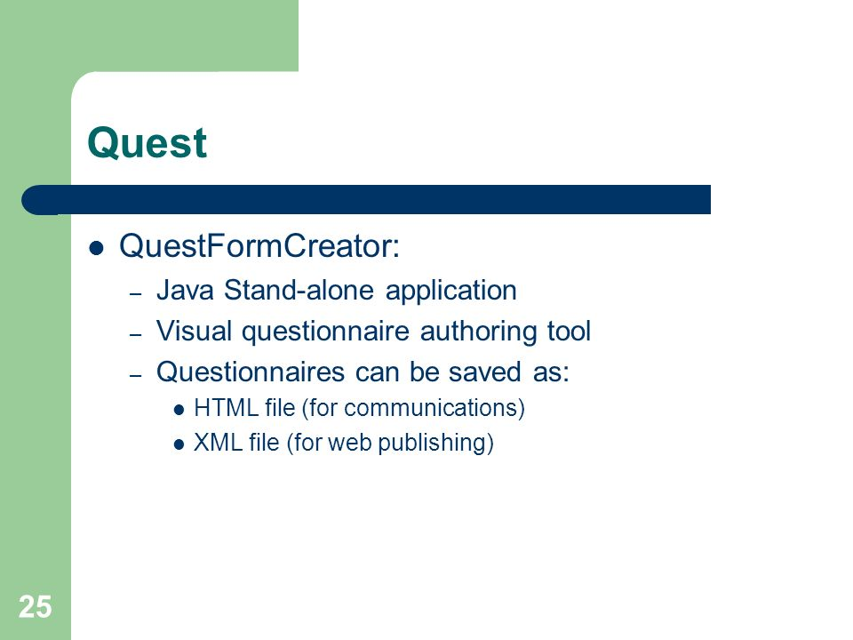 Quest QuestFormCreator: Java Stand-alone application