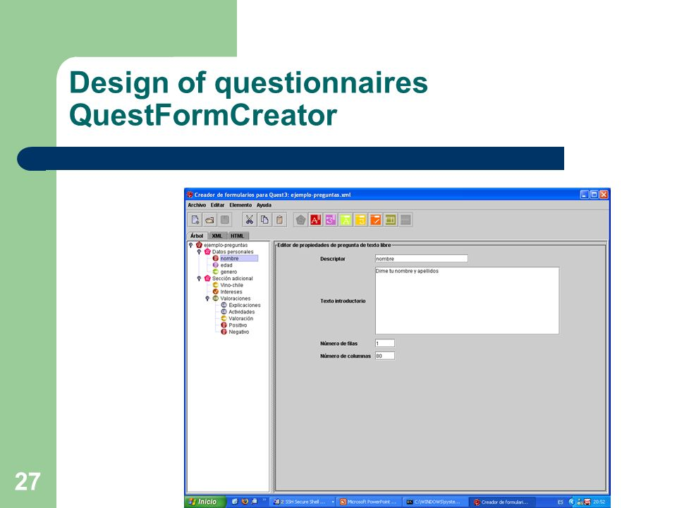 Design of questionnaires QuestFormCreator