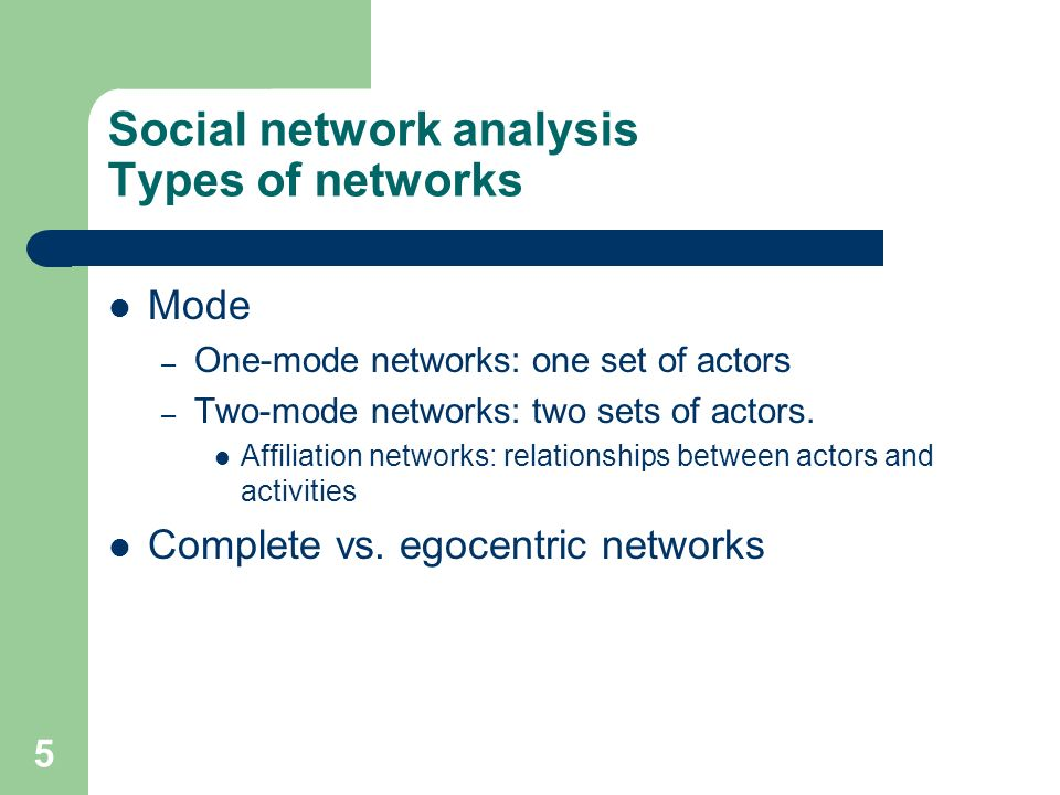 Social network analysis Types of networks