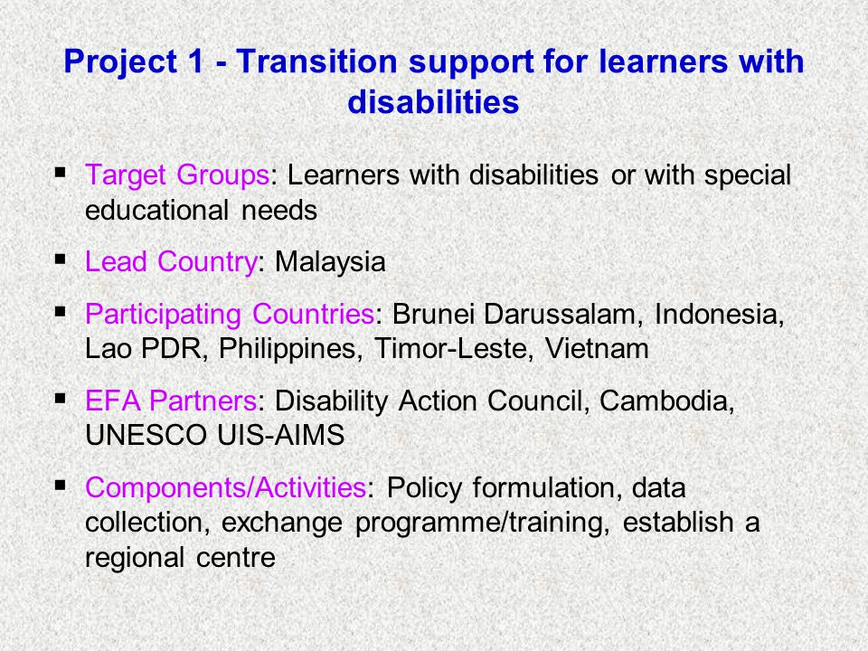 Project 1 - Transition support for learners with disabilities