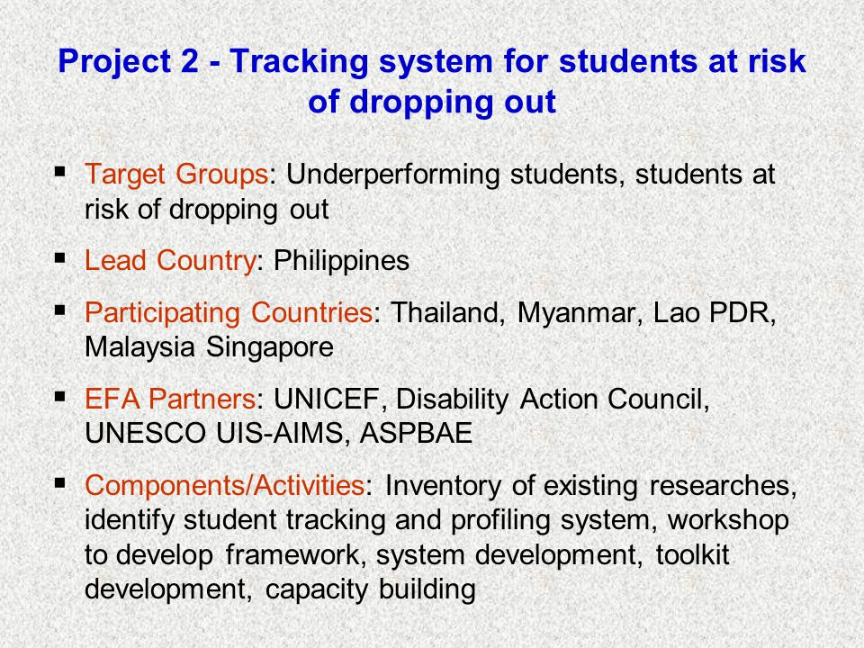 Project 2 - Tracking system for students at risk of dropping out