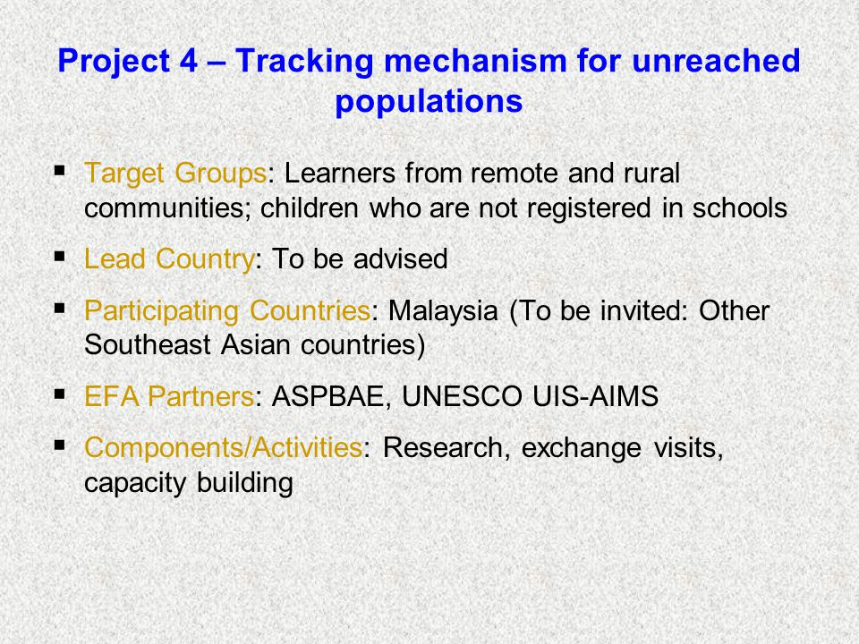 Project 4 – Tracking mechanism for unreached populations