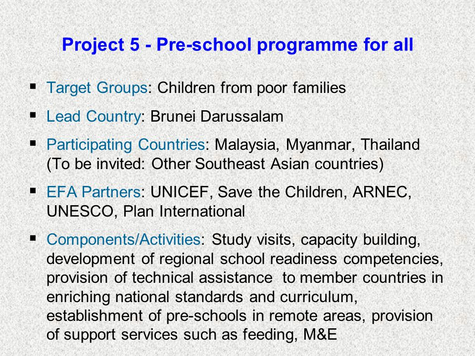 Project 5 - Pre-school programme for all