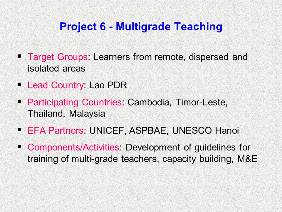 Project 6 - Multigrade Teaching