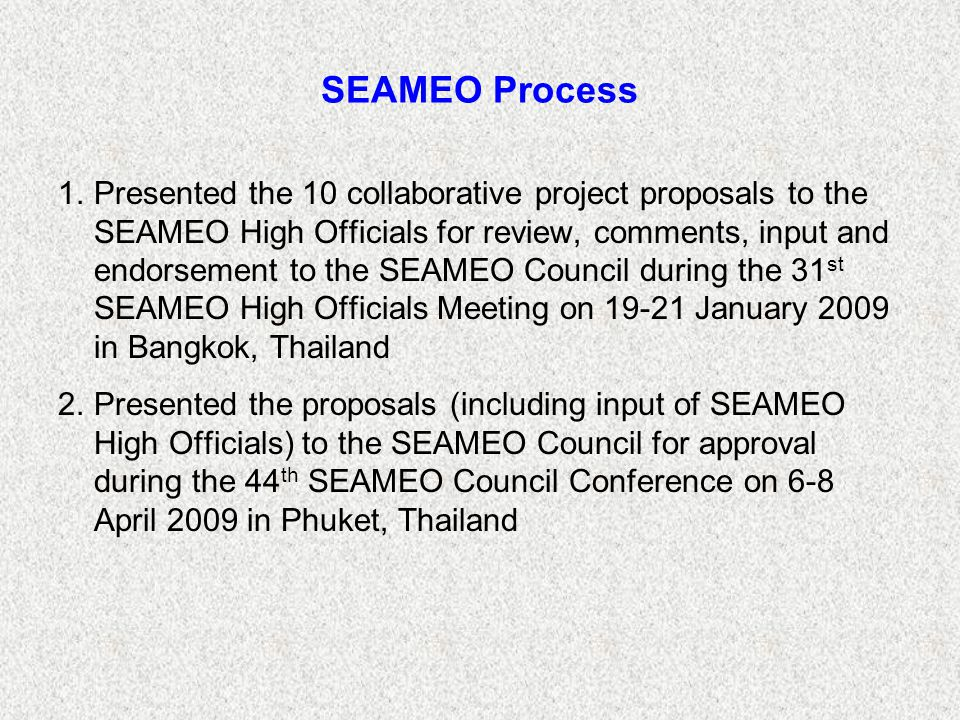 SEAMEO Process