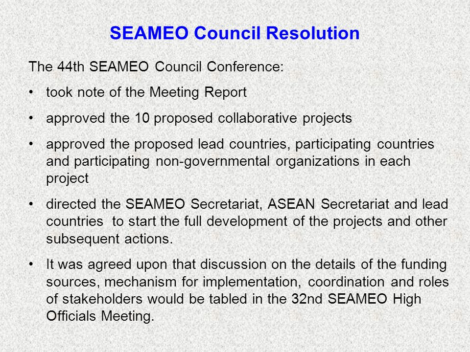 SEAMEO Council Resolution