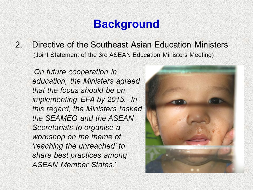 Background Directive of the Southeast Asian Education Ministers