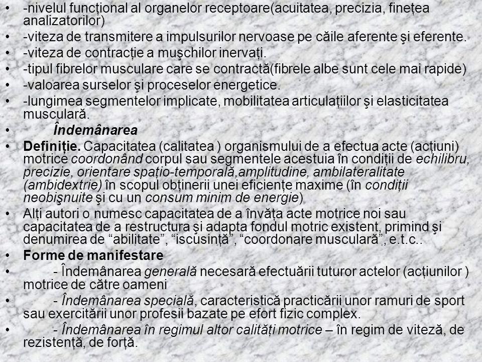 -nivelul funcţional al organelor receptoare(acuitatea, precizia, fineţea analizatorilor)