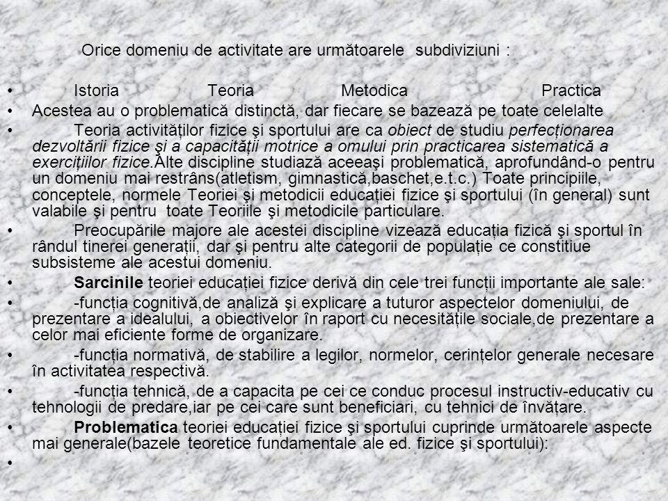 Orice domeniu de activitate are următoarele subdiviziuni :
