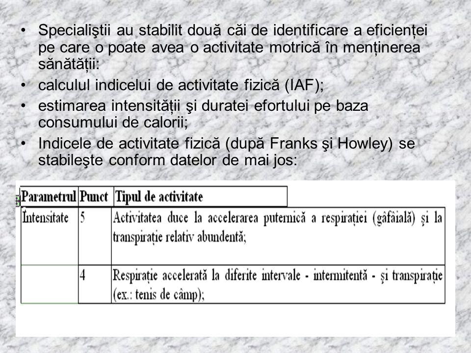 Specialiştii au stabilit două căi de identificare a eficienţei pe care o poate avea o activitate motrică în menţinerea sănătăţii: