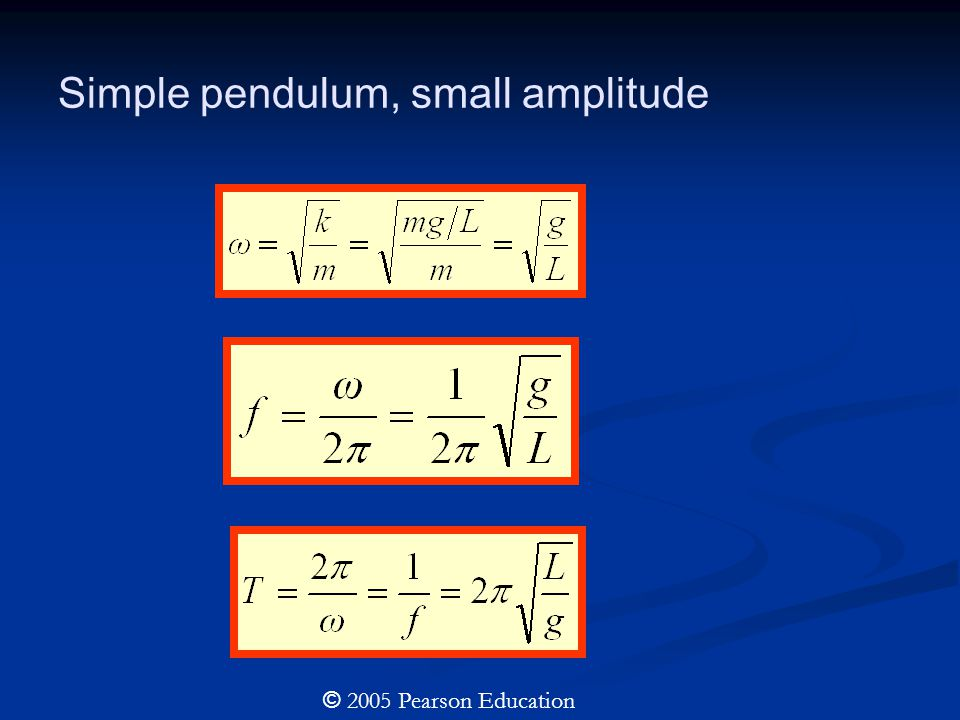 Simple pendulum, small amplitude