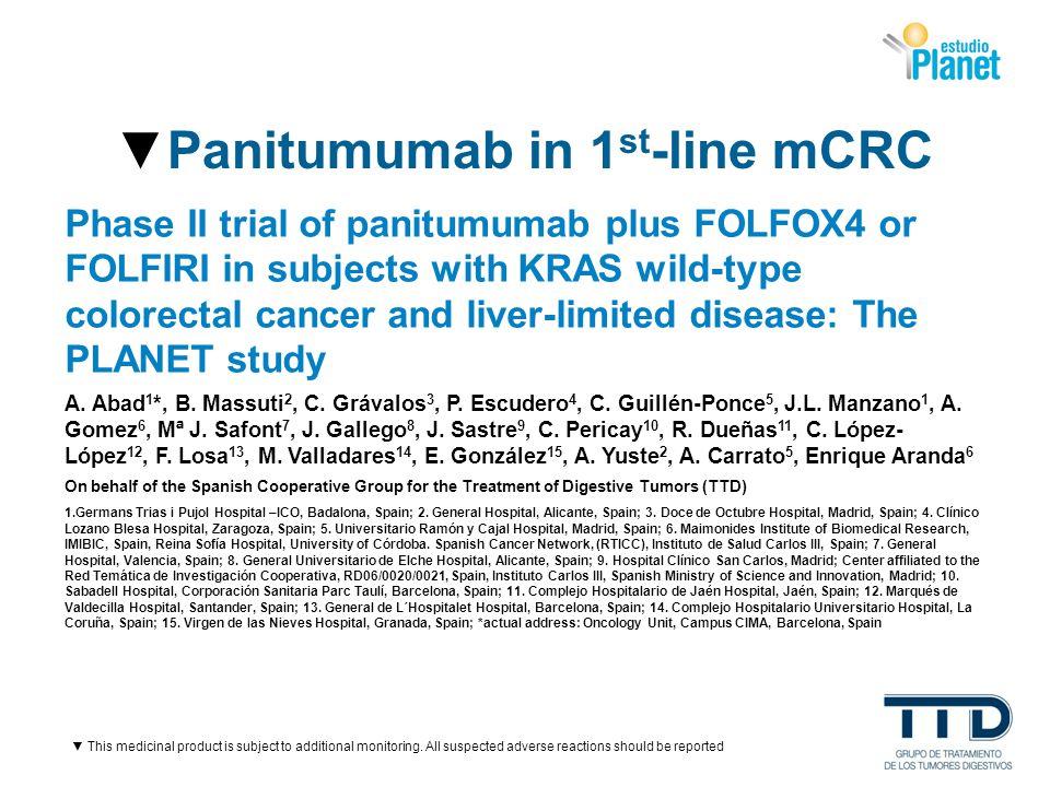 ▼Panitumumab in 1st-line mCRC