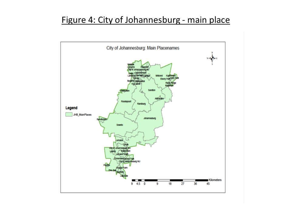 Figure 4: City of Johannesburg - main place