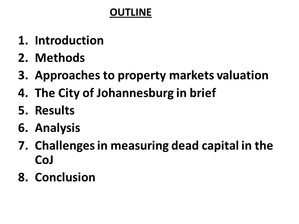 Approaches to property markets valuation
