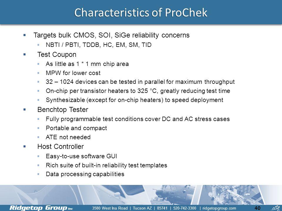 Characteristics of ProChek