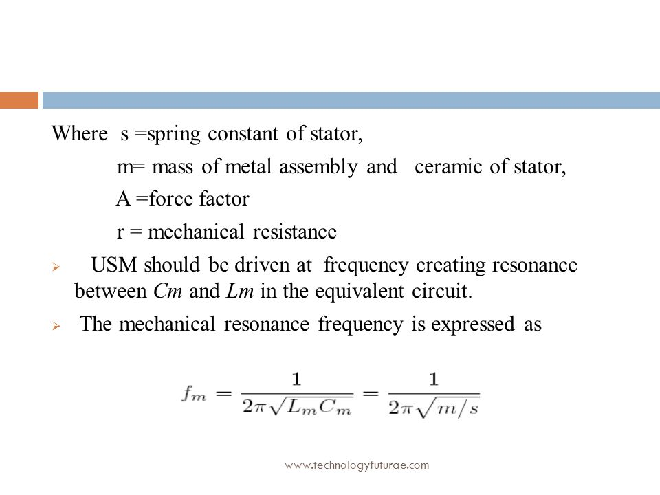 Where s =spring constant of stator,