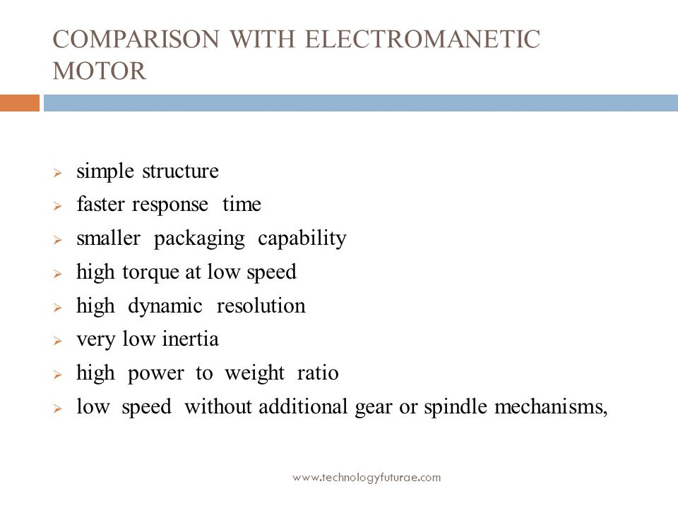 Comparison with electromanetic motor