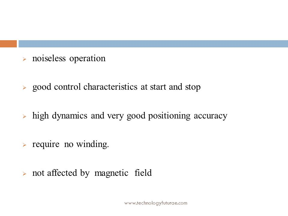 good control characteristics at start and stop